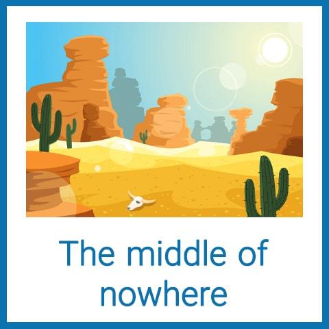 معنی The middle of nowhere
